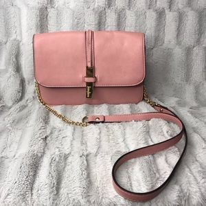 Neiman Marcus Pink Vegan Leather Crossbody Purse